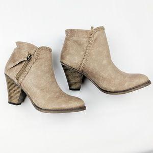 Mia | Kori heeled ankle booties braided tan Size 8